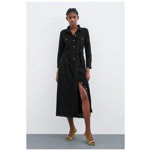 NEW Zara Cutwork Black Midi Button Dress Medium